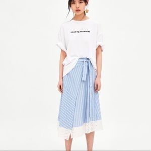 Zara Striped Wrap Skirt Size XS